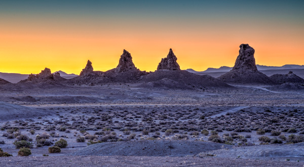 Full moon at Trona Pinnacles